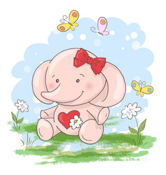 postcard cute little elephant flowers and vector image