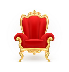 Realistic royal throne luxurious red chair vector