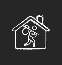 Refugee shelter chalk white icon on black vector