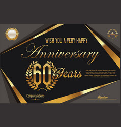 Retro vintage anniversary background 60 years vector