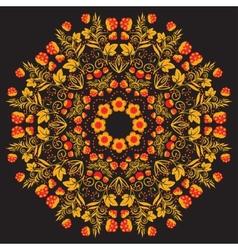 Russian traditional circular pattern mandala Red vector