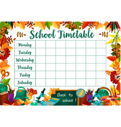 School lessons timetable schedule template vector