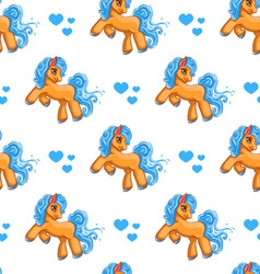 Seamless pattern with cute cartoon little horse vector image