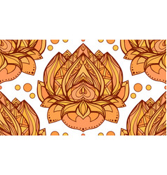 Seamless pattern with gold yellow lotus element vector