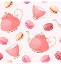 Seamless pattern with tea pots and cups vector image