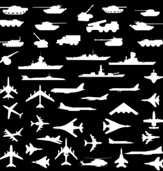 Set aircraft armored ships and guns vector