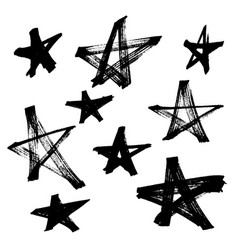 Set black hand drawn stars in doodle style on vector