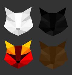 set cat polygon geometric vector image