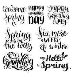 Set groundhog day handwritten phrases vector