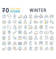 Set line icons winter vector