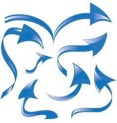 set of blue arrows vector image