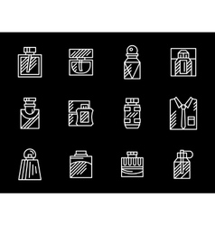 Set of male fragrances white line icons vector