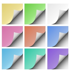 Set of page curls with shadow of blank color sheet vector image