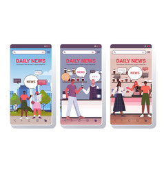 Set people reading newspaper discussing daily news vector