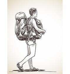 Sketch of a backpacker vector