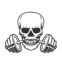 Skull with barbell in teeth design element for vector