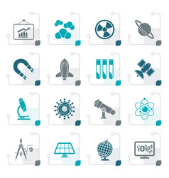 Stylized science research and education icons vector