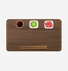 Sushi tray with condiments set japanese cuisine vector