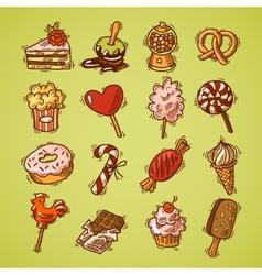 Sweets sketch icon set color vector