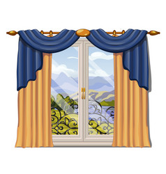 the window overlooking the sunny meadow of green vector image