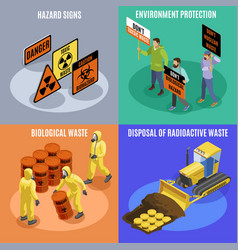 Toxic waste isometric concept vector