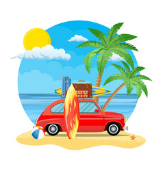 Travel car with surfboard and suitcases vector