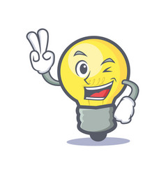 Two finger light bulb character cartoon vector