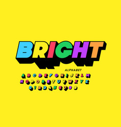 vibrant colorful style font design alphabet vector image
