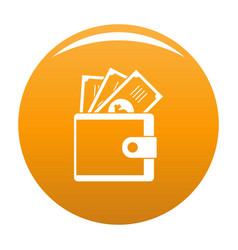 Wallet icon orange vector