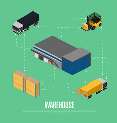 Warehouse isometric concept with storage building vector