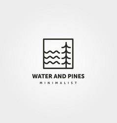 water and pine logo line art symbol minimalist vector image