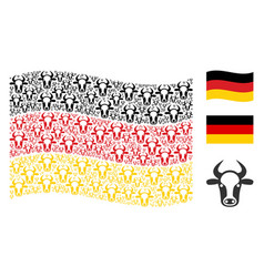 waving german flag collage of cow head items vector image