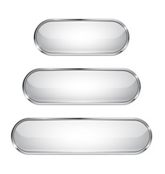 White glass 3d buttons with chrome frame oval vector