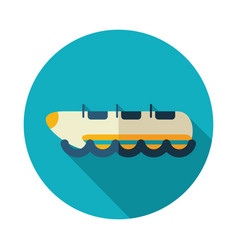 Yellow banana boat ride icon summer vacation vector
