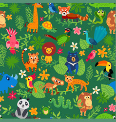 Zoo jungle pattern seamless tropical vector