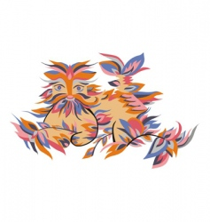 Animals in the leaves vector image vector image