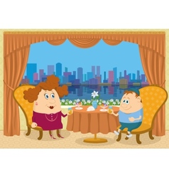 Mother and son in restaurant vector