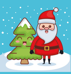 santa claus with pine character christmas card vector image