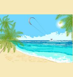 Seaside landscape with sea kite vector
