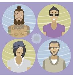 Set of four cartoon avatars - men 01 vector image vector image