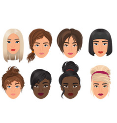 woman female avatar set vector image vector image