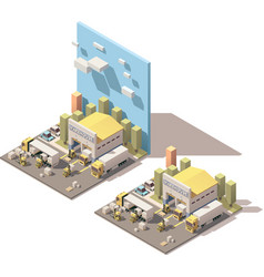 isometric warehouse building icon with vector image vector image