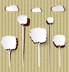 Paper Cut Trees and Clouds on Cardboard Background vector image vector image