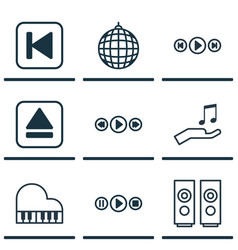 set of 9 music icons includes dance club song ui vector image vector image