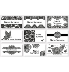 Set of business cards with flowers vector image vector image