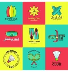 Summer activity set of flat logos vector image vector image