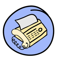 A Fax Telephone on Round Blue Background vector image vector image