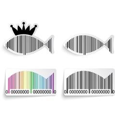 Barcode fish label set vector image vector image