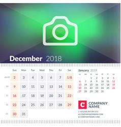 calendar for december 2018 week starts on sunday vector image