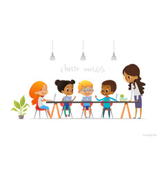 happy children sitting at laptops and learning vector image vector image